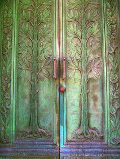 Green with purple door
