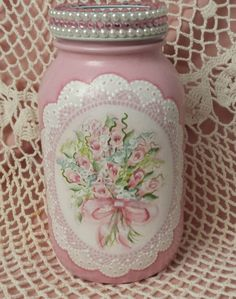Hand Painted Mason Jar Cottage Chic Pink Roses Hydrangeas Shabby Lace HP | Crafts, Handcrafted & Finished Pieces, Handpainted Items | eBay!