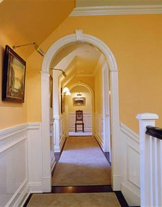 Ruth Burts Interiors: Fall Palette Some designers say this color (Orangery) works best when broken up with white cabinetry & bookshelves or used on an accent wall. Yellow Hallway, Yellow Walls, Yellow Rooms, Tiled Hallway, Upstairs Hallway, Hallway Paint Colors, Paint Colours, Wall Colours, Room Colors