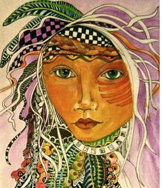 Woman with Feathers in her  Hair  Art Print copy watercolor   and ink  zentangle tateam EUC team