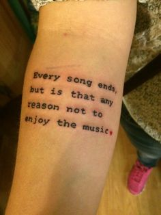 """""""Every song ends, but is that any reason not to enjoy the music?"""""""