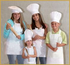Kids Chef Apron and Hat Combo Cook Baker Unisex One Size Fits Most