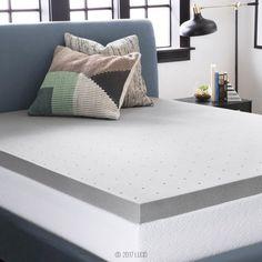 LUCID 4 Inch Gel Memory Foam Mattress Topper Ventilated for