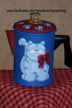 cat coffee pot