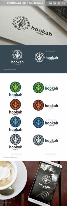 Hookah Logo Template — Photoshop PSD #smoking #coal • Available here → https://graphicriver.net/item/hookah-logo-template/15309006?ref=pxcr