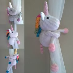 Ravelry: Unicorn curtain tieback crochet, amigurumi pattern by BBadorables Unicorn Bedroom Decor, Unicorn Rooms, Unicorn Decor, Girl Room, Girls Bedroom, Uni Bedroom, Crystal Room, Rainbow Room, Crochet Unicorn
