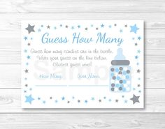 Welcome! These adorable Guess How Many cards are perfect for a fun baby shower activity. Have your guests guess how many candies are in a jar