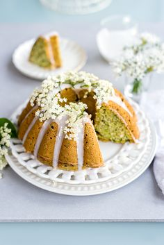 Zucchini Coconut Bundt Cake with Elderflower Glaze