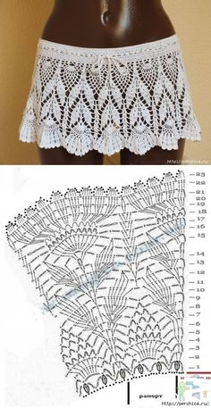 35 examples of beautiful knitting patterns Crochet Skirt Pattern, Crochet Skirts, Crochet Diagram, Crochet Blouse, Crochet Motif, Crochet Shawl, Crochet Clothes, Crochet Lace, Crochet Stitches