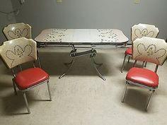 Atomic Orange and White Flower Graphic Vintage Table & 4 Chairs Kitchen Dining Kitchen Tables, Kitchen Dining, Flower Graphic, Vintage Table, White Flowers, Chrome, Mid Century, Orange, Retro