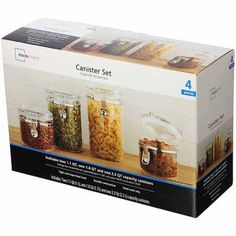 Classical 4-Piece Canister Set, Clear