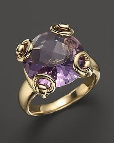 Gucci 18K Yellow Gold Amethyst Horsebit Cocktail Ring | Bloomingdale's