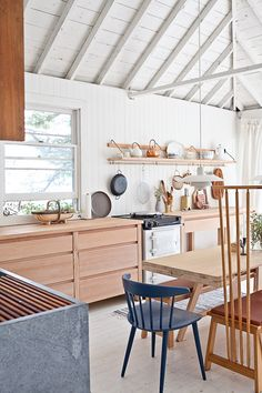 The idyllic white and wood Scandinavian style cabin belonging to the owners of Mjölk.