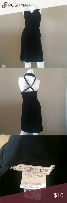 La Belle black dress La Belle dress, polyester-some stretch, collared, cross back, pull on, small la Belle Dresses Backless