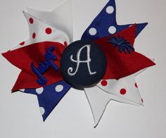 4th of July Southern Girl Style Monogrammed Boutique Hairbow