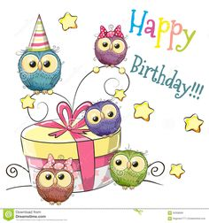 Owl with gift vector image on VectorStock Happy Birthday Pictures, Very Happy Birthday, Happy Birthday Quotes, Happy Birthday Greetings, Birthday Messages, Birthday Fun, Birthday Cake, Sister Birthday, Birthday Ideas