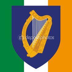 ireland eire coat of arm and flag