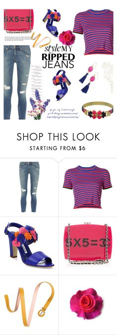 """""""Style My Ripped Jeans"""" by mimi1207 ❤ liked on Polyvore featuring rag & bone, Manolo Blahnik, Chanel and Panacea"""