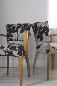French Bridge Chairs (circa 1940s) upholstered in Robert Le Heros fabric - by Kiki Voltaire.