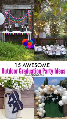 Graduation Party Decor Discover 15 Awesome Outdoor Graduation Party Ideas - Oh My Creative Rock your grads party with these 15 awesome outdoor graduation party ideas! Awesome outside grad party ideas include games decor photo booth and more fun! Graduation Party Desserts, Outdoor Graduation Parties, Graduation Party Centerpieces, Grad Party Decorations, Graduation Party Planning, College Graduation Parties, Graduation Party Decor, Grad Parties, Graduation Ideas