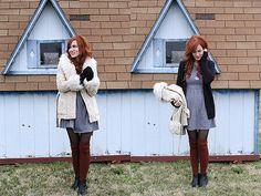 Weekly Wears: Winter Uniform - winter style: dress, tights, knee socks, boots, warm cardie, cozy jacket.