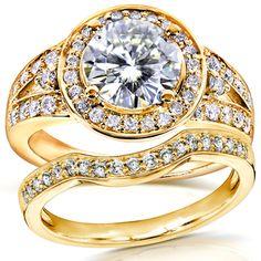 Forever Brilliant Art Deco Moissanite & Halo Diamond Bridal Set 2 ctw in Rose Gold, Women's, Size: Forever Brilliant (moissanite)/ Gh (diamonds) Wedding Rings Sets Gold, Art Deco Wedding Rings, Bridal Ring Sets, Bridal Rings, Bridal Jewelry, Art Deco Diamond Rings, Gold Diamond Rings, Halo Diamond, Gold Rings