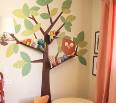 Tree Bookshelves! What a great idea - you could start with the Skip Hop Tree Top Friends decal here: http://www.cleverclogs.ie/shop/skiphop-wall-decal-tree-top-friends-p-2291.html?cPath=0=7fb57540d3ebd75c631663a6f7ecc520