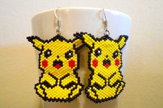 Pikachu Pokemon Manga Anime Cosplay Peyote Earrings on Etsy, $35.00