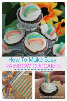 Learn how to make easy rainbow cupcakes by using simple but fun decoration. Perfect for use at a rainbow or Trolls birthday party. This is a design that looks great and all the kids will love them. Troll Cupcakes, Kid Cupcakes, Rainbow Cupcakes, Baking Cupcakes, Unicorn Cupcakes, Trolls Birthday Party, Birthday Ideas, 4th Birthday, Easy Kids Birthday Cakes