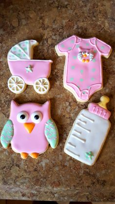 Baby owl theme baby shower cookies