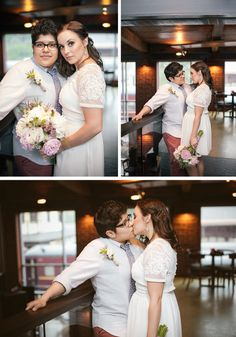 Leah & Heather's awesome wedding at a brewing company @Offbeat Bride #Lesbian #wedding #marriageequality