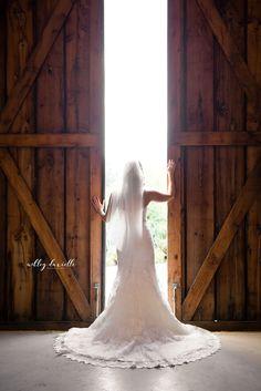 Issaquah, WA. Pickering Barn, barn wedding, rustic wedding, bride, barn doors, bride pose, wedding photography, Seattle wedding photography, wedding dress shot. {Ashley Danielle Photography}