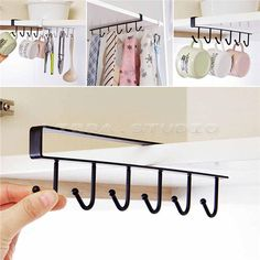 6 Hooks Cup Holder Hang Kitchen Cabinet Under Shelf Storage Rack Organiser Hot