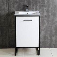 Contemporary Art Websites  Overstock Petite Inch Wood White Bathroom Vanity Give your bathroom a quick update with this stylish white vanity With one door one d u