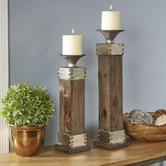 Whether you mix and match with other accents to curate an eclectic tabletop or stay traditional with the set, these holders make a polished platform for candlesticks. Classic Candle Holders, Diy Candle Holders, Candlestick Holders, Candlesticks, Candle Lanterns, Diy Candles, Eclectic Tabletop, Arte Judaica, Modern Holiday Decor