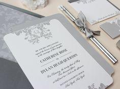 Elegant Classic Wedding Invitations - PLUME ELEGANCE //DEPOSIT//. $100.00, via Etsy.