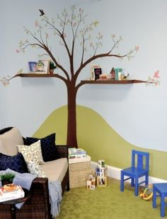 I love how shelves and a wall mural were used together to create a simple yet decorative corner. For more kids room decorating and storage ideas visit https://www.facebook.com/KidsRoomDecor
