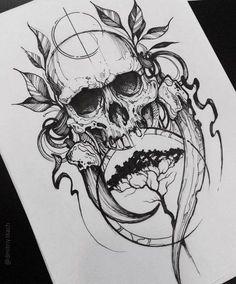 New Tattoo Designs Skull Drawings Ideas Tattoo Sketches, Tattoo Drawings, Body Art Tattoos, Sleeve Tattoos, Sketch Drawing, Skull Drawings, Drawing Ideas, Artwork Drawings, Evil Skull Tattoo