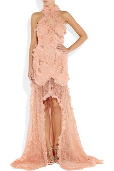 Alexander McQueen Ruffled bead-embellished pale pink chiffon and lace gown