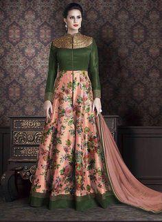 Green Silk Incredible Salwar Kameez in Long Anarkali Style