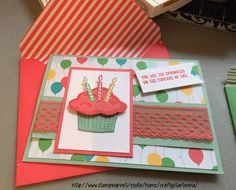 "Crafting a few cards with the new Stampin' Up goodies! The ""Sprinkle of Life"" stamp set and matching ""Tree Builder"" punch. The new In Colors 2015-2017, and the new envelope paper."