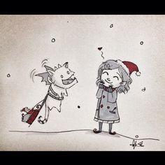Playing some reindeer games! #kaya #mohndee #christmas #dailydrawing #angelasongart