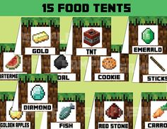 Minecraft Food Tent Cards Minecraft Decoration by PartySuperhero