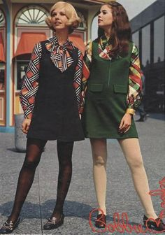 2/23/17 Hannah Talarico These girls are wearing a 60's inspired look with bod colors and patterns. (Vintage Top 1960s)