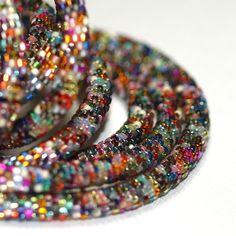 Nuru ... Bead Crochet Rope . Necklace . Bracelet . Metallic . Colorful . Intricate . Bold . Industrial Chic . Multi Color . Versatile. $150.00, via Etsy.