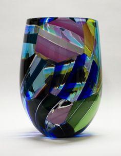 Art-Glass Vessel by Jeffrey Pan Glass Vessel, Glass Art, Contemporary Artists, Contemporary Design, Colored Glass, Wind Chimes, Wine Glass, Perfume Bottles, Basket