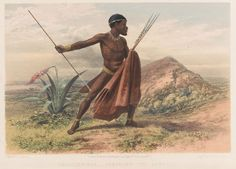 Xhosa warrior, 8th Cape Frontier War, 1850-1853 | Online Collection | National Army Museum, London African Culture, African Art, Military Art, Military History, West Africa, South Africa, Throwing Spear, Zulu Warrior, Xhosa