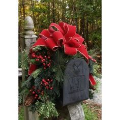 Outdoor Holiday Mailbox Swag with Bow CR1022 Decorations-Pine $63.95