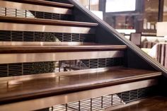 Stair risers in Fused Graphite with Satin finish and Kente Screen pattern at Park Central Hotel, New York, New York