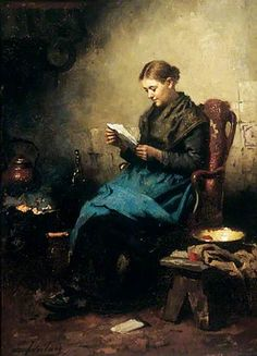Young Girl Reading, by Johannes Weiland, 1870 #art